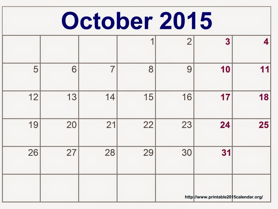 Blank Calendar October : Free printable calendar october
