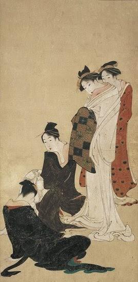 Katsushika Hokusai (1760 -1849) Tableau des moeurs féminines du temps Fujo fūzoku zu Ère Kansei, ans IV-VI (vers 1792-1794) 2 kakémono, shihon, diptyque 107 × 52,7 cm chacun Tsuwano, Katsushika Hokusai Museum of Art © Katsushika Hokusai Museum of Art