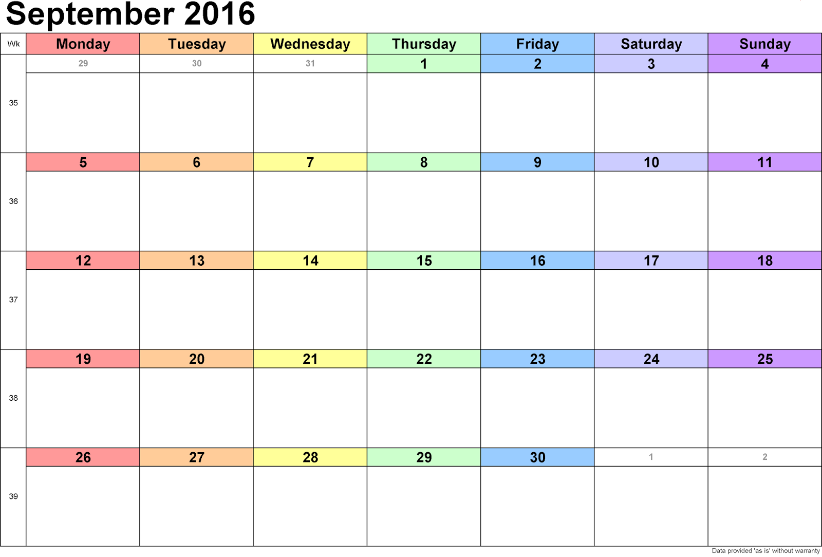 Cute 2016 Calendar: Free* September 2016 Clean Calendar Printable