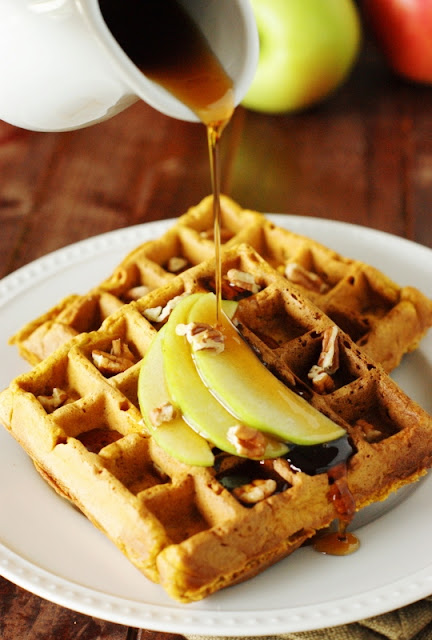 Pumpkin-Apple Waffles | from The Kitchen is My Playground