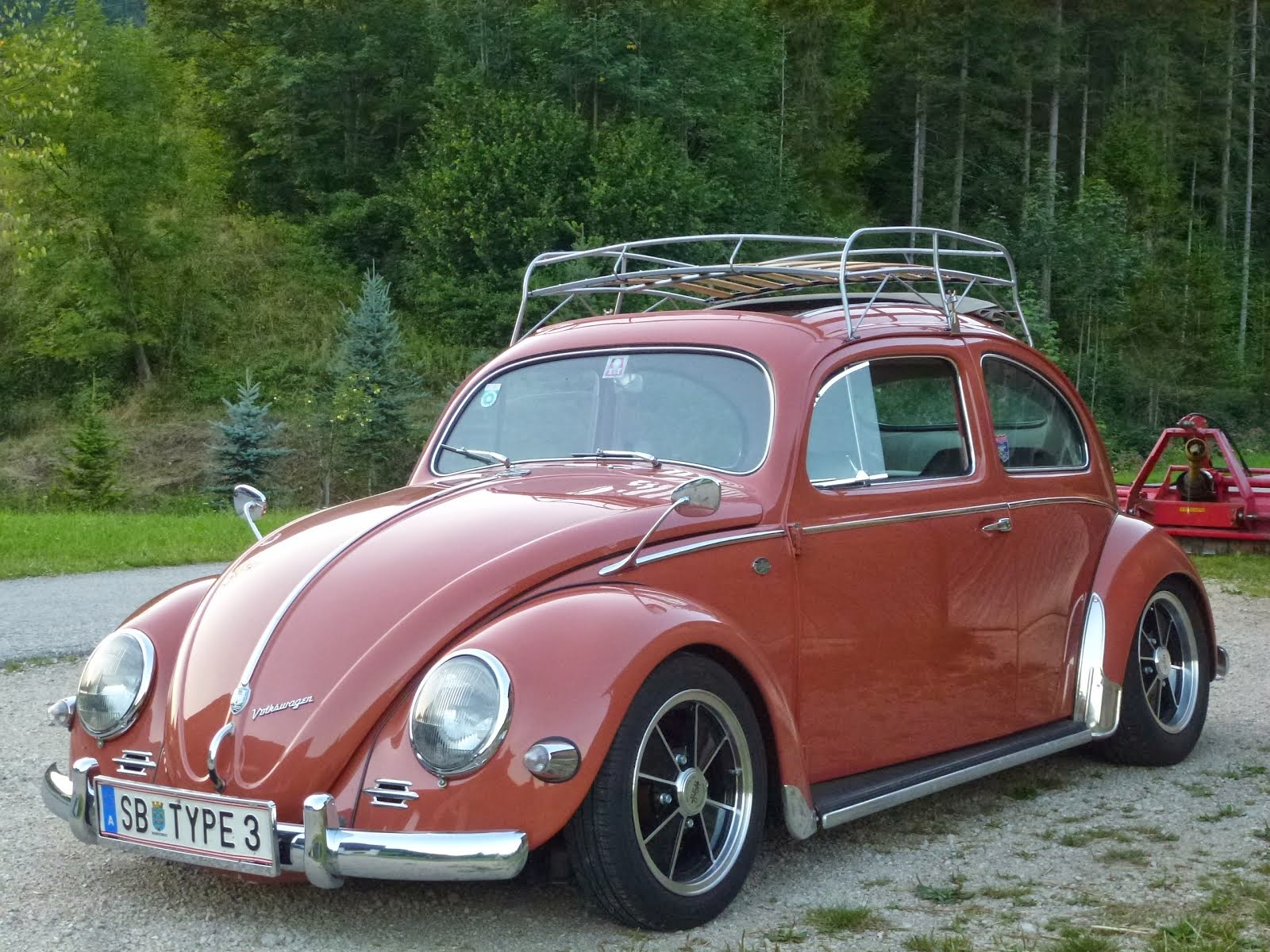 my ex oval coral red 1955 Export bug