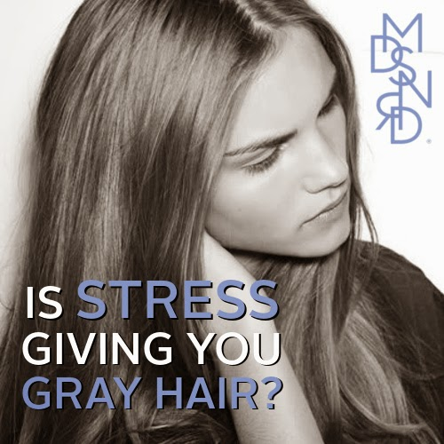 image- IS stress giving you grey hair? Young woman contemplating gray hair