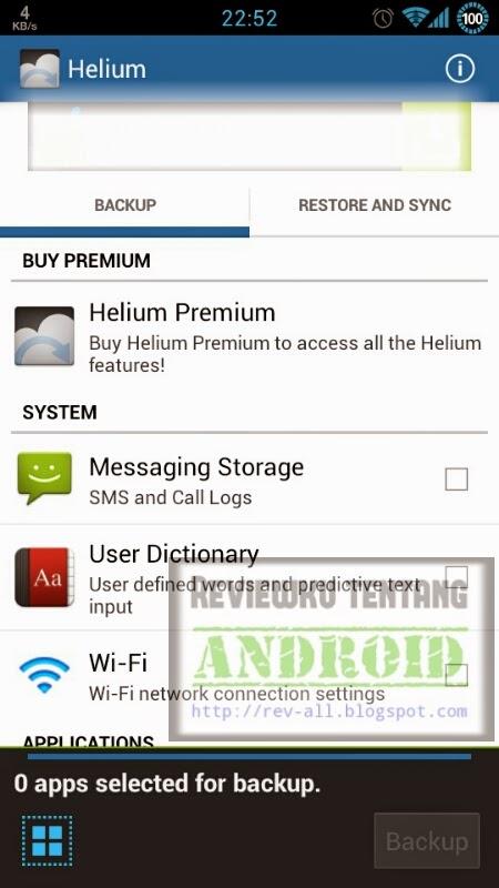 Tampilan utama HELIUM versi 1.1.3.1 - Aplikasi android untuk membackup dan restore aplikasi dan permainan beserta datanya (rev-all.blogspot.com)