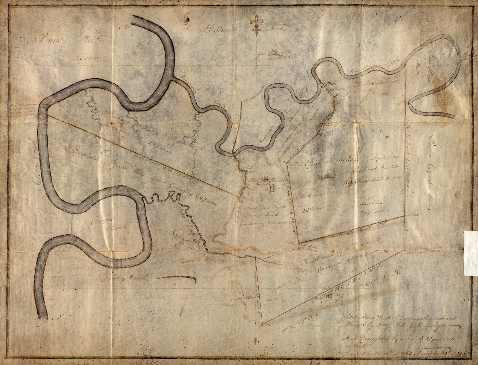 1765 survey of division of lands between bartholomew wyatt jr and richard wistar the salem river winds on the left and mannington creek at the top