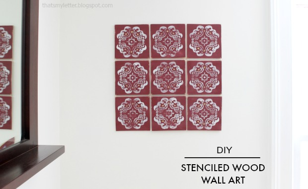 diy stenciled wood wall art