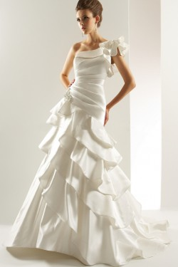 Different styles of one shoulder wedding dress