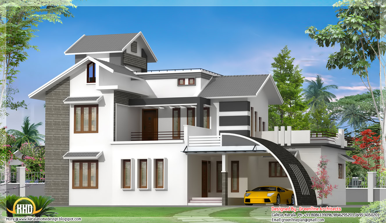 Contemporary indian house design 2700 sq ft kerala for North indian house plans with photos