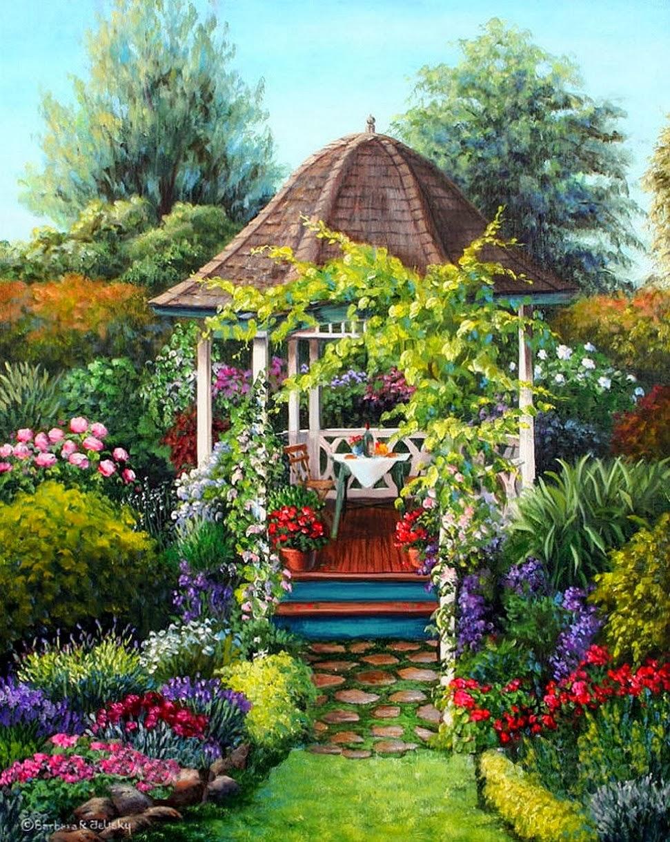 Pintura moderna y fotograf a art stica paisaje con - Plantas de jardin fotos ...