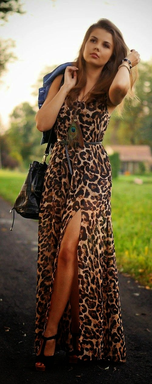Sleeveless leopard print long maxi dress