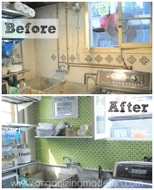 Before and after covering up basement pipes | OrganizingMadeFun.com