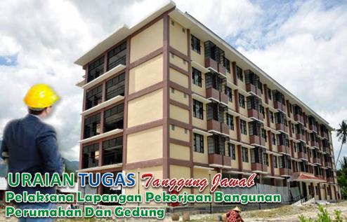 Uraian Tugas dan tanggung jawab Pelaksana Lapangan Pekerjaan Bangunan Perumahan Dan Gedung.