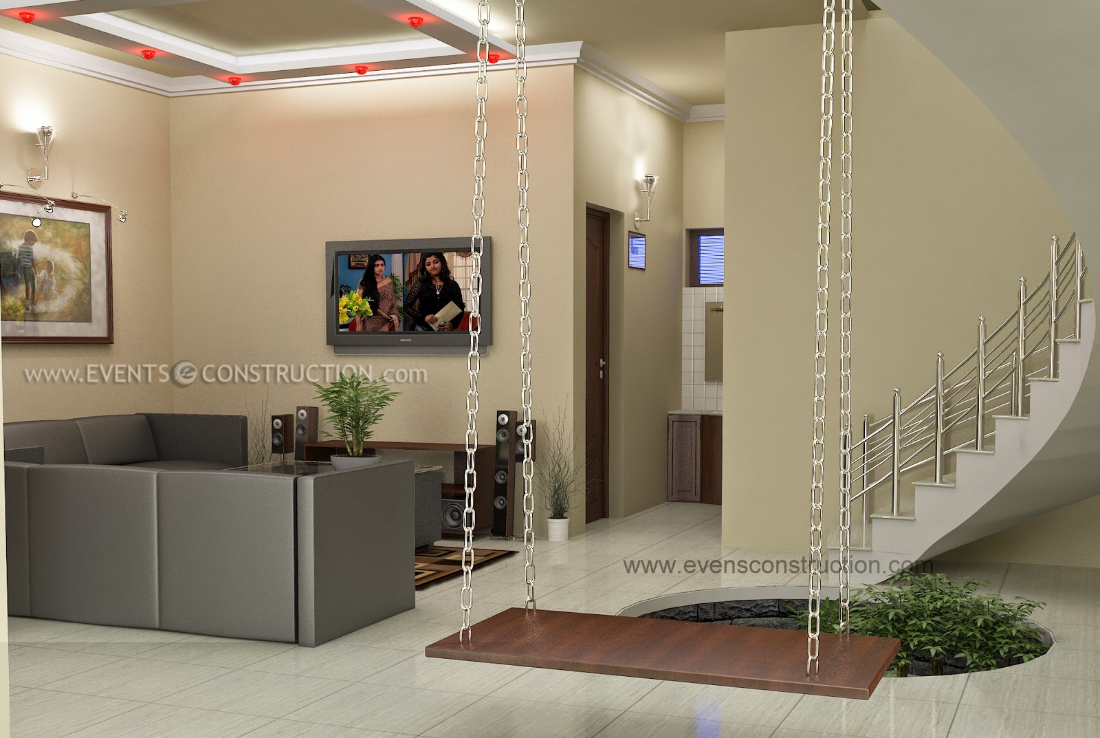 Evens construction pvt ltd awesome living room for kerala for Living room designs kerala style