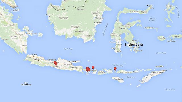 Mapa da Indonésia dos lugares visitados pelos Pequenos Pelo Mundo