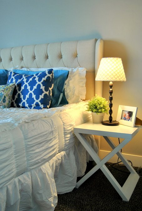 white painted nightstands
