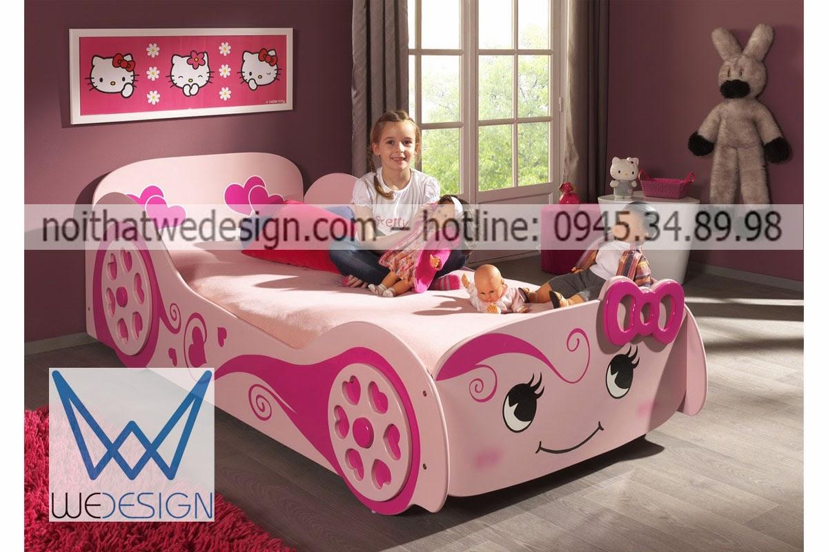 Giường ngủ ô tô cho bé gái màu hồng dễ thương