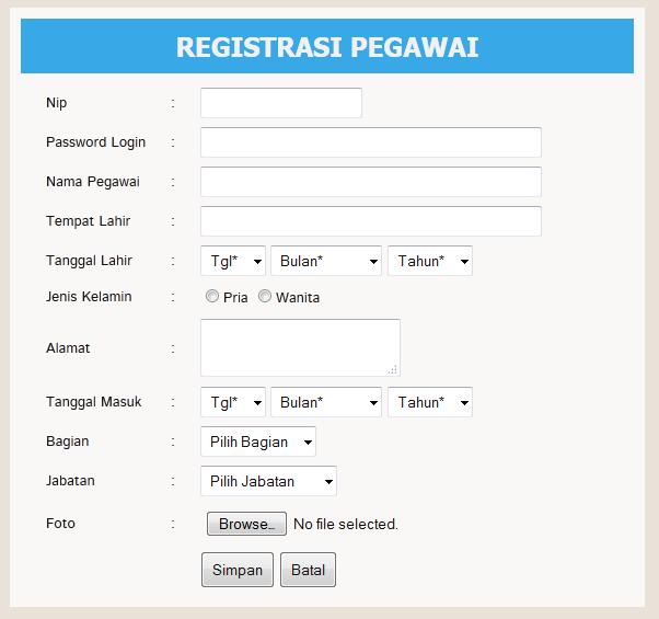 registrasi pegawai - Aplikasi Pegawai Berbasis Web