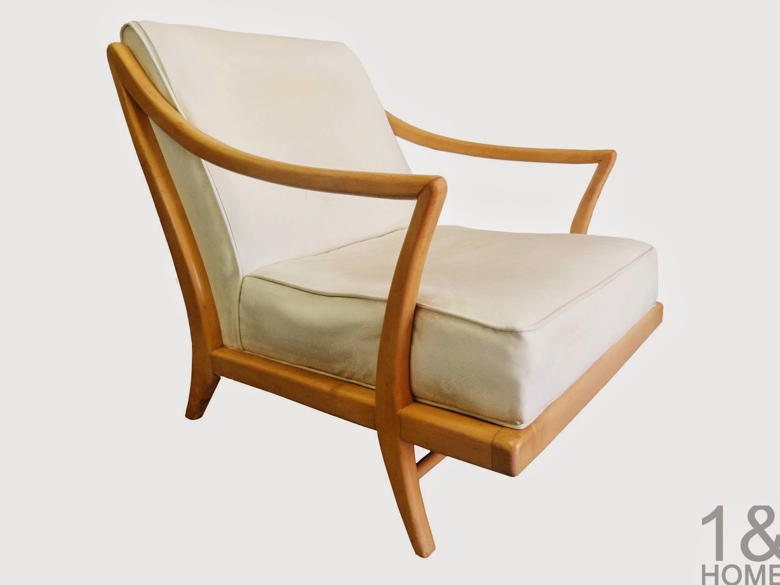 mid-century Modern, sculptural, Gio Ponti influenced, lounge chair in birch