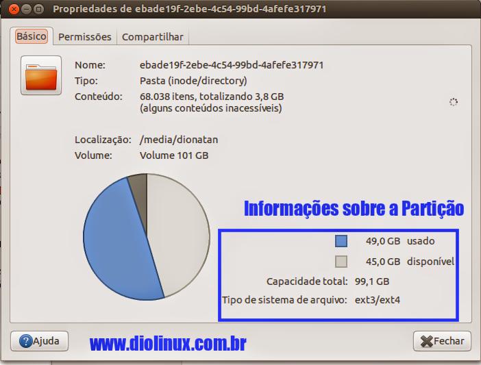 Propriedades de disco Ubuntu