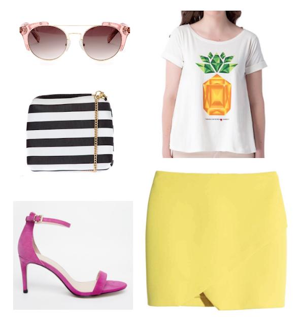 Natalie Joos copiando su estilo camiseta piña estampada -falda amarilla-
