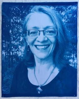 Sue Reno selfie cyanotype