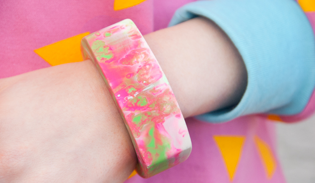 serena kuhl, resin bangle, neon bangle