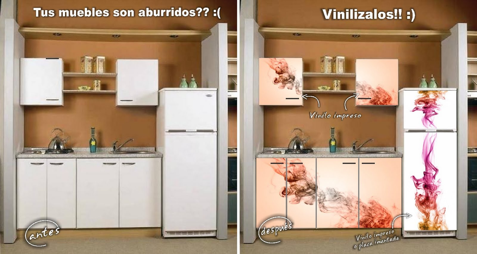 Decorativa. Vinilos para tu hogar.: Muebles de cocina decorados en ...