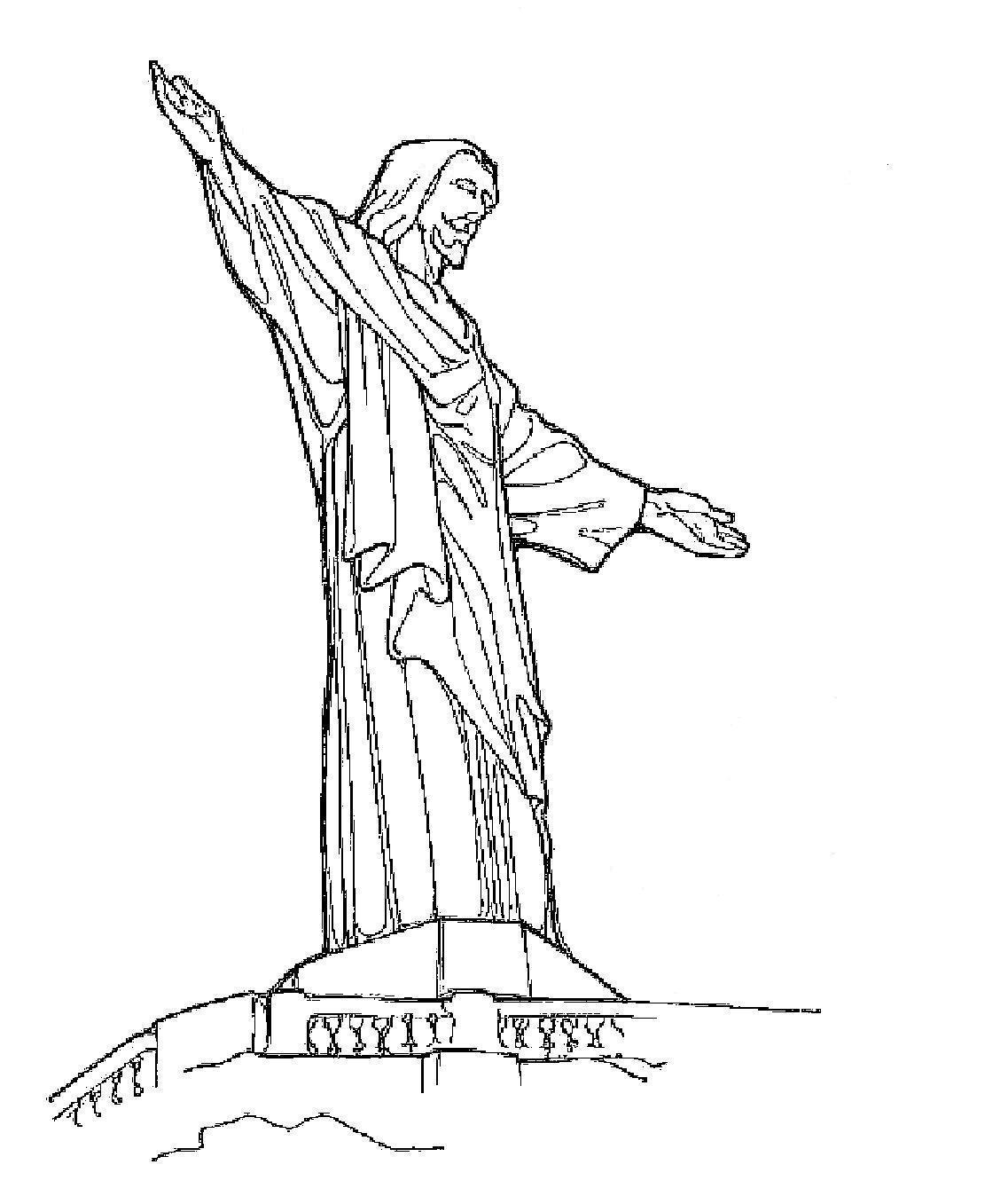 Super Almir e Suzana: Monumento do Cristo Redentor - Para Colorir HJ67
