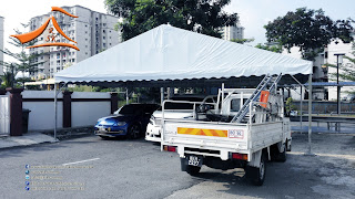 Our client have requested for A Shape Canopy with the size of 18' x 30'. They will required this canopy for car shade purpose. The client were so consent about the strong wind at the same time this structure should not be permanent as well therefore we have dig down 1' and use concrete to ensure the stability of the structure.