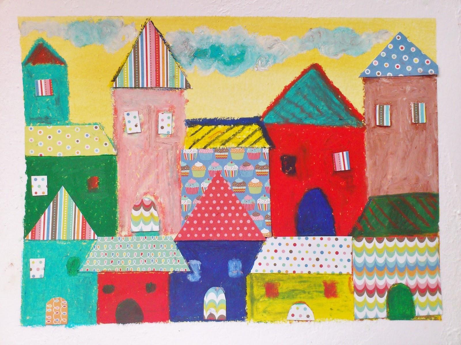 Jugando a las casitas - Infantil con Pastel al óleo y Collage