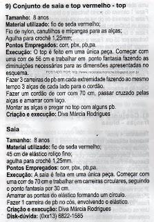 RECEITAS DE CONJUNTO DE SAIA E BLUSA PARA MENINAS EM CROCHÊ