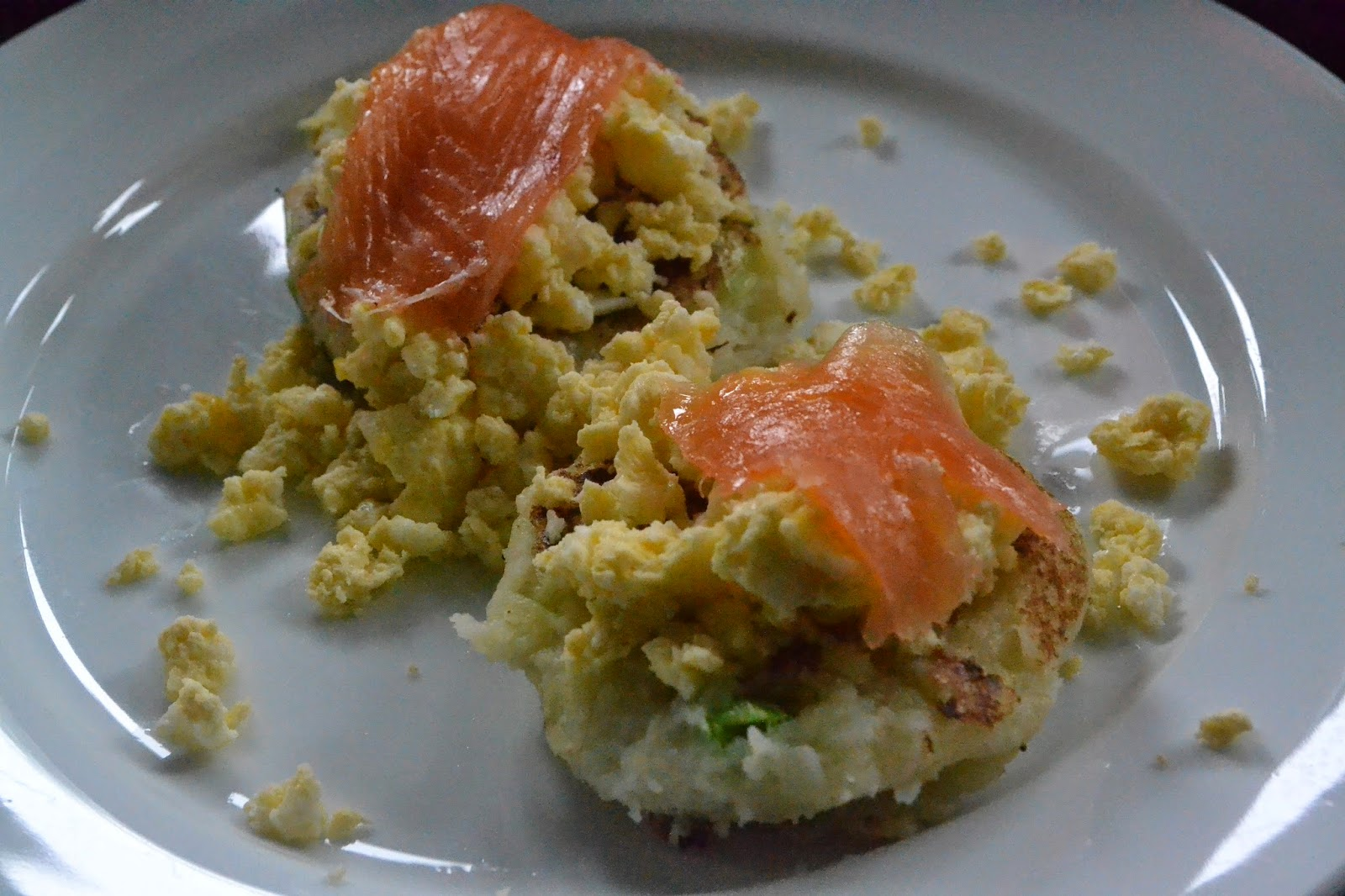 Potato Cakes with Salmon and Scrambled Eggs