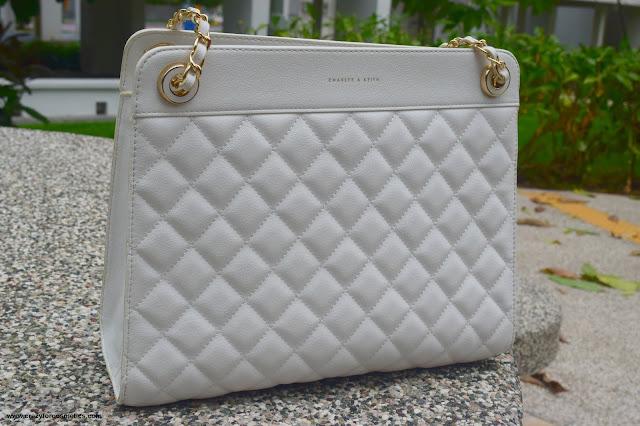 Self design handbags white color