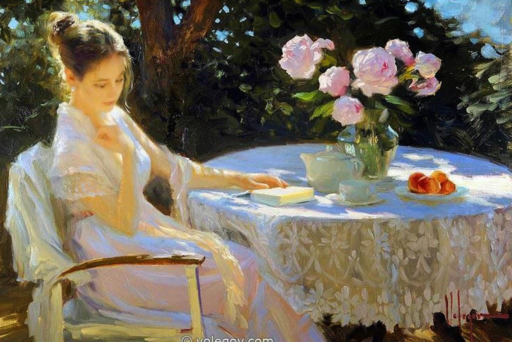 Im genes arte pinturas flores con mujeres en jardines for Cuadros para el jardin