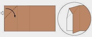 Bước 5: Từ vị trí mũi tên trắng mở tờ giấy ra và kéo, gấp về phía bên phải.
