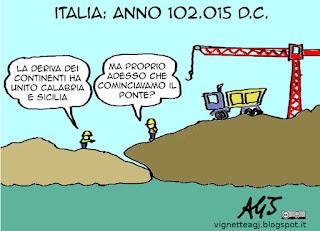 ponte sullo stretto, messina, sud italia, infrastrutture, satira vignetta