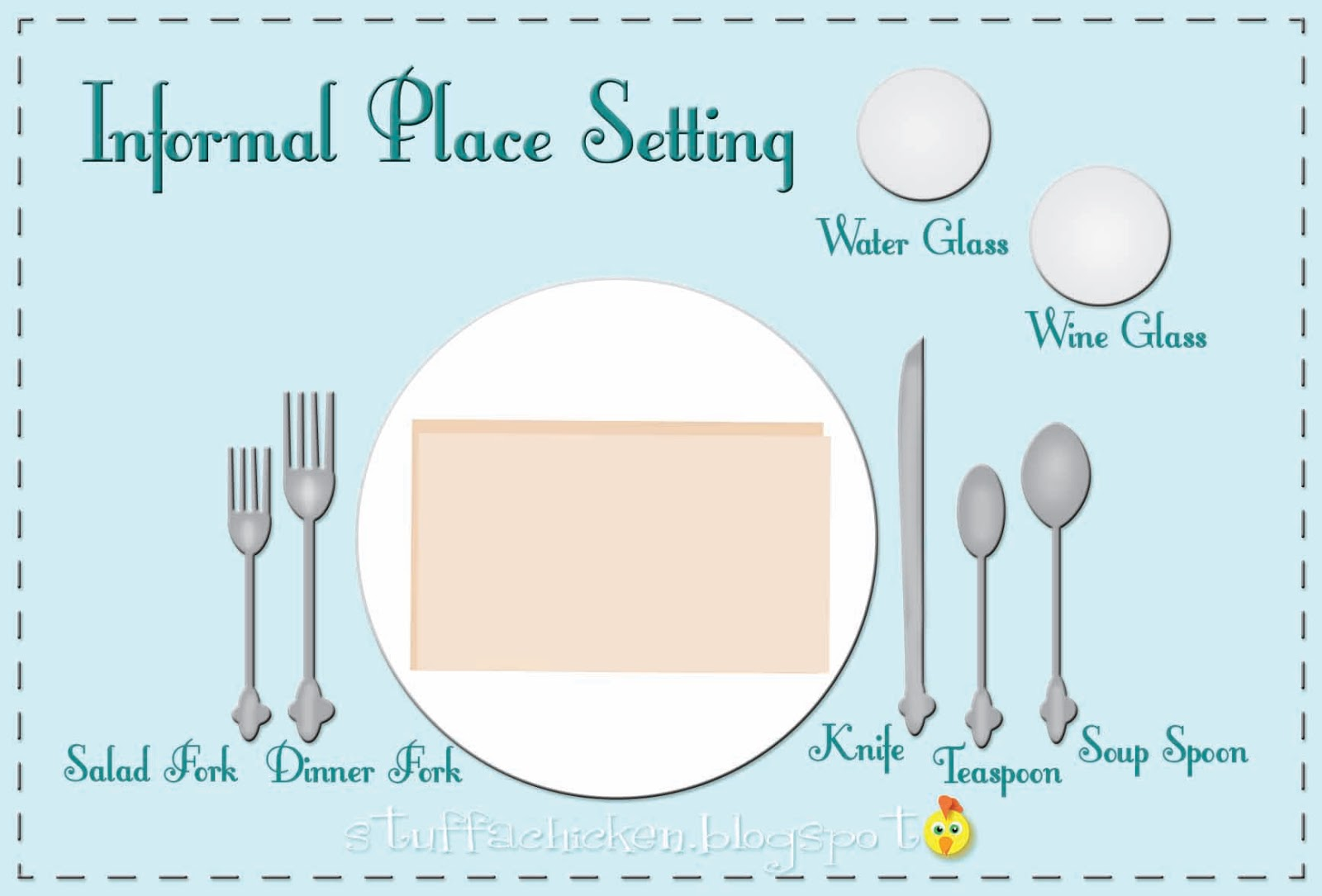 A table setting Dining etiquette as we all know can be very formal or casual. I find extreme formal settings to be a bit ridiculous in my life ...  sc 1 st  Gonna Stuff a Chicken & Gonna Stuff a Chicken: Tip of the Week: Place Setting