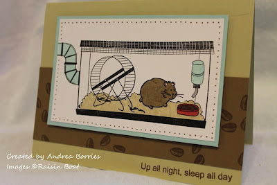 "Card with the image of a hamster in a cage with an exercise wheel. Sentiment says ""Up all night, sleep all day."""