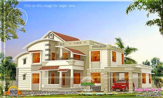 Villa red color design