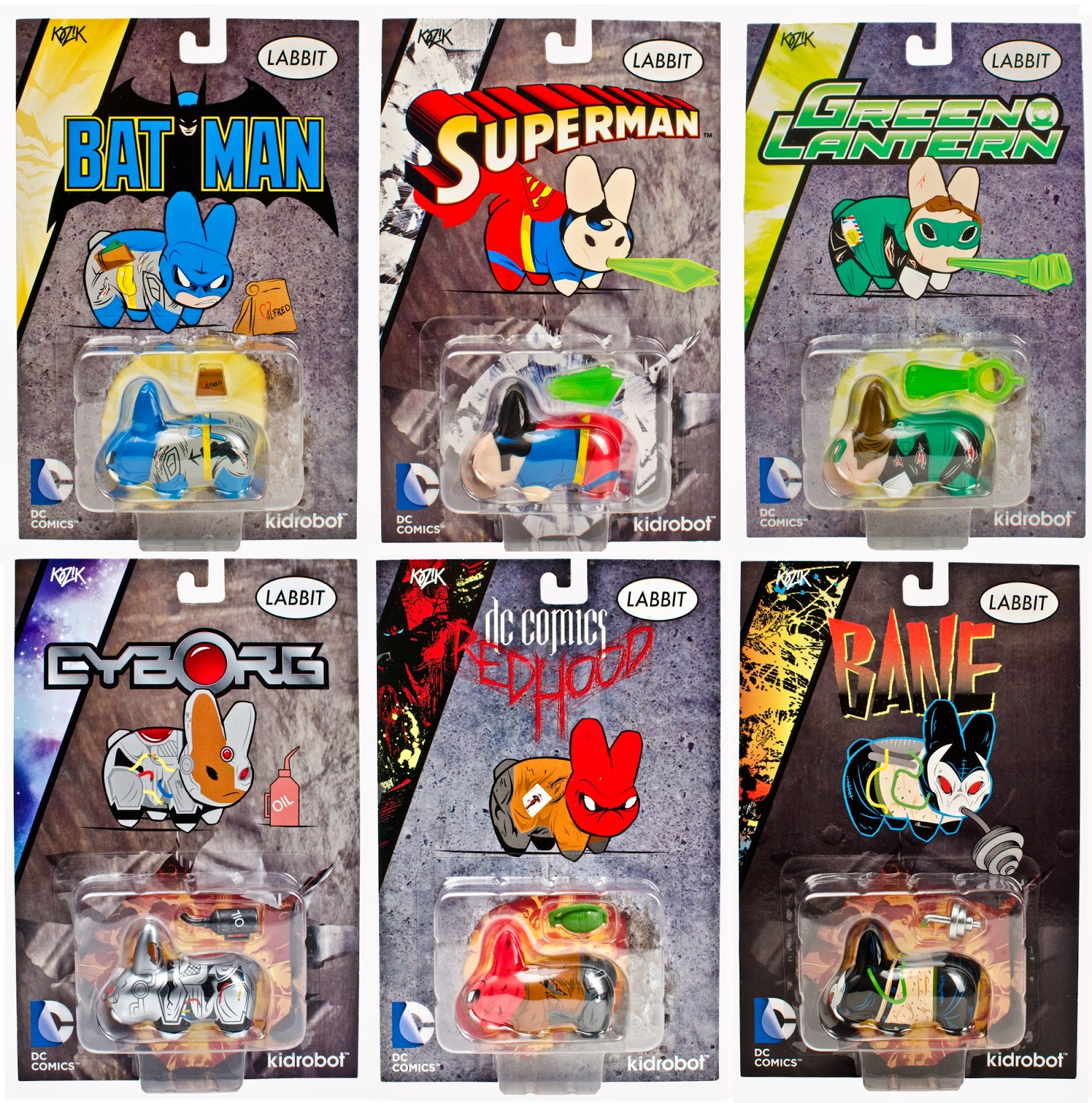 DC Comics Blister Card Labbit Mini Figures by Kidrobot