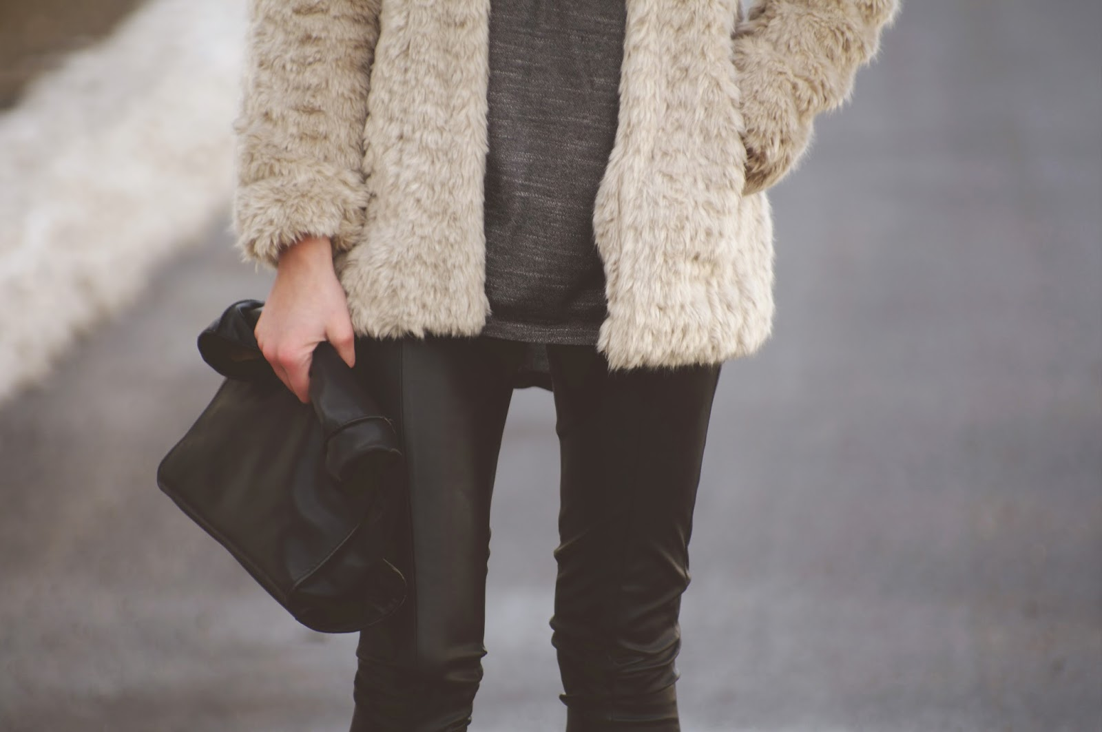 faux fur coat amisu new yorker, fashion trends 2014 winter, layering outfit, stylowebuty boots botki, zara leather lunch bag, style blogger, fashion blogger, slovenski modni bloger blogerka