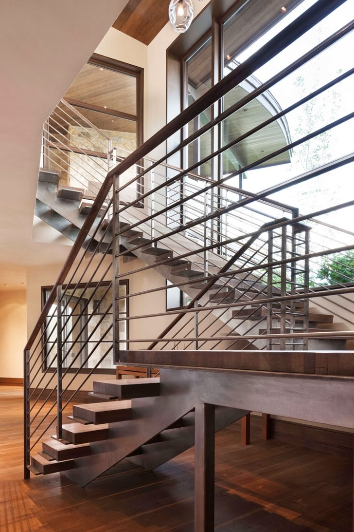 Steel stairs in Modern mountain house in Aspen, Colorado