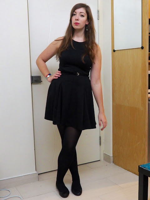 LBD - outfit of little black skater dress with velvet belt, black tights and flat ballet shoes