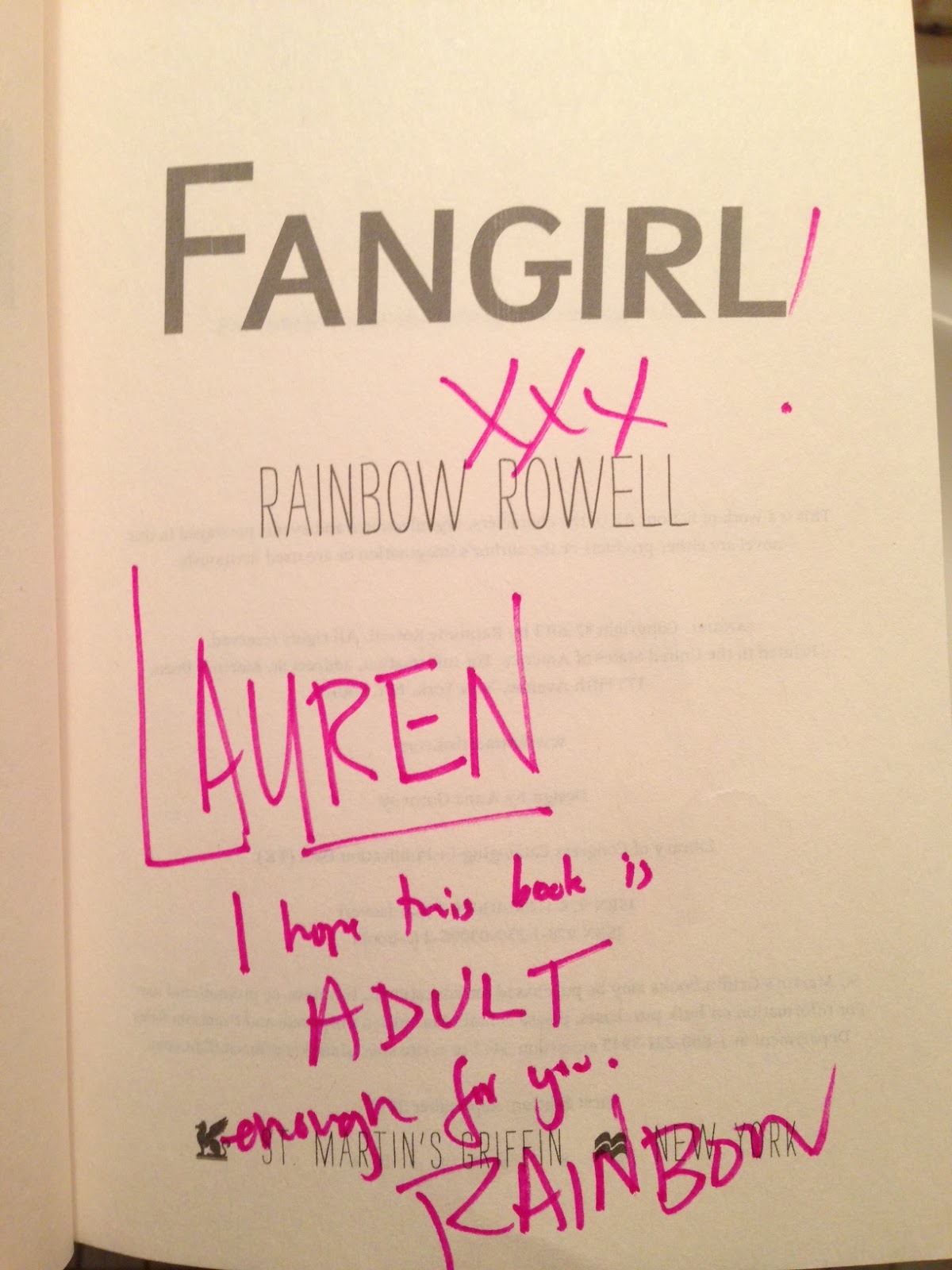 Love is not a triangle: Fangirl by Rainbow Rowell: A Thank