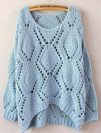 Light blue knitted sweater for fall