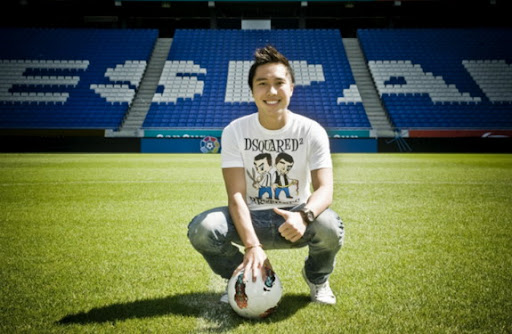 Indonesian teen Arthur Irawan poses at the Estadi Cornellà-El Prat after signing for Espanyol
