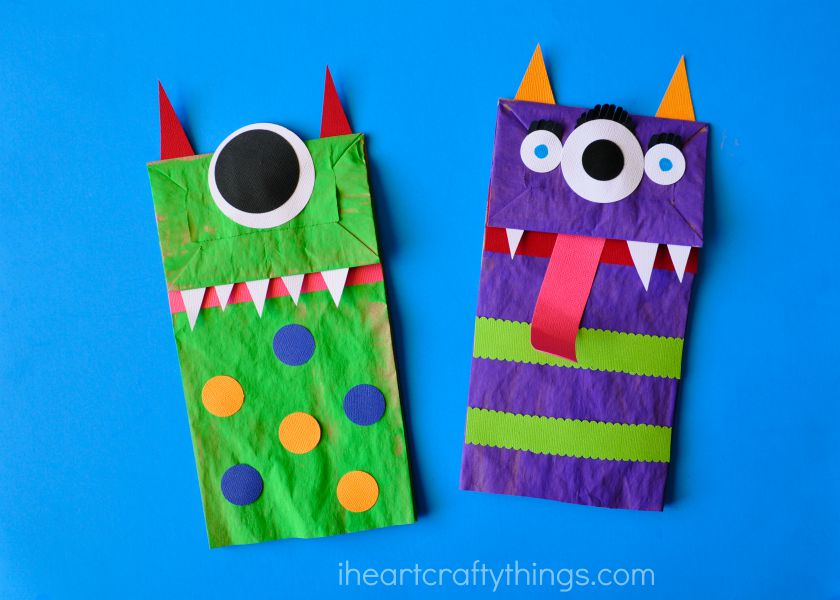 Paper bag monster puppets i heart crafty things for Brown paper bag crafts for preschoolers
