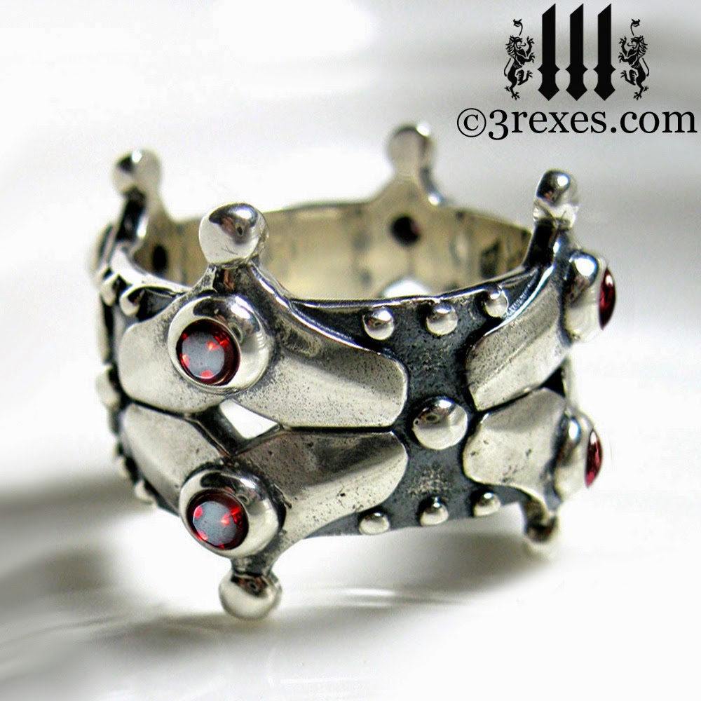 silver gothic wedding crown ring with garnets