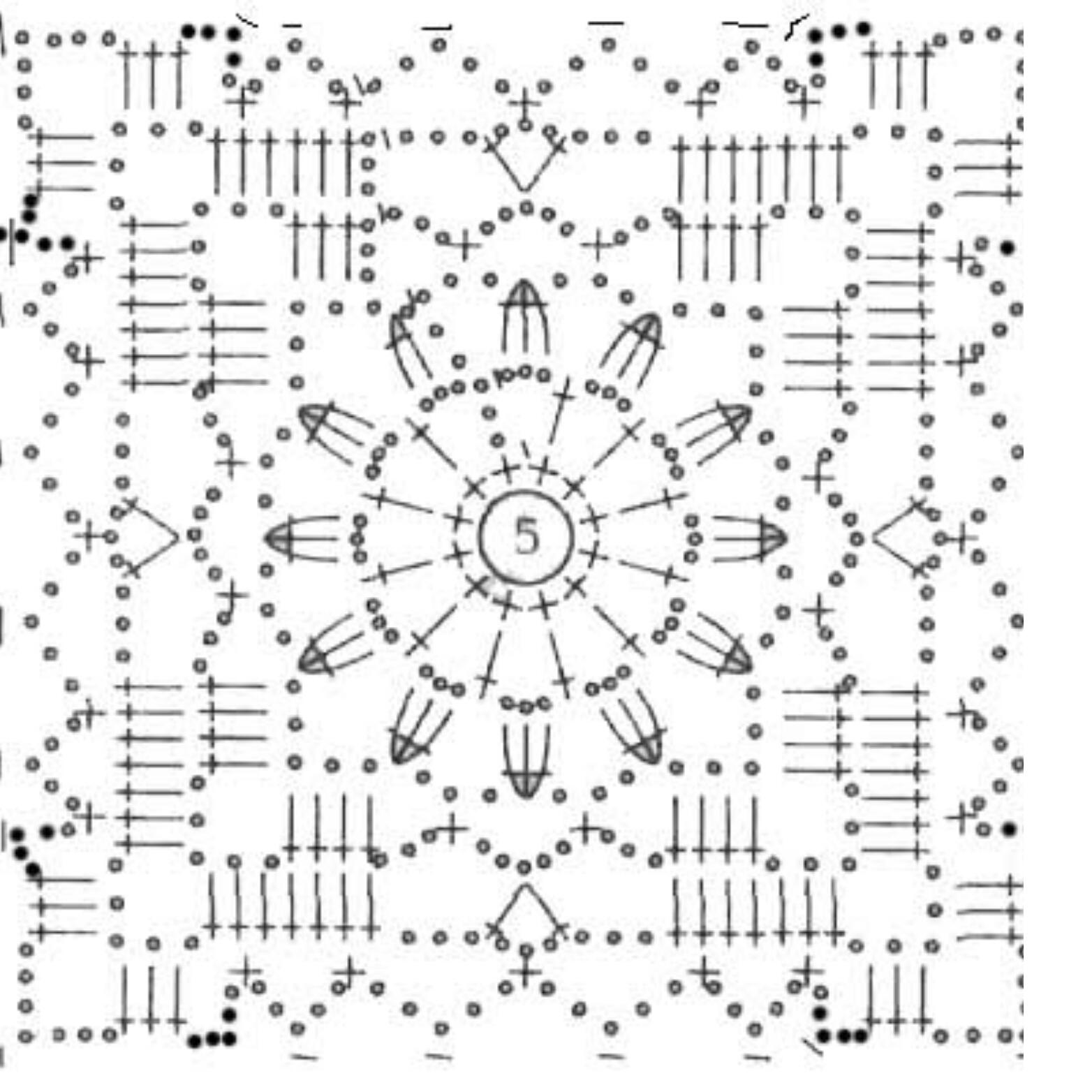 Вязание крючком квадрат простой схема 60