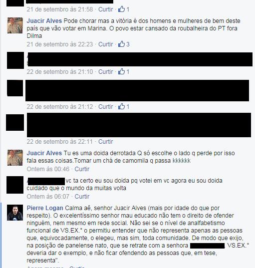 Vereador Juacir Alves discutindo no facebook com cidadã panelense.