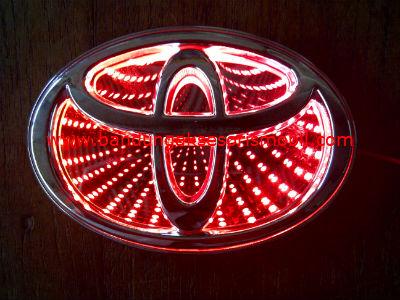 Front Logo + Lampu 3D Toyota Merah